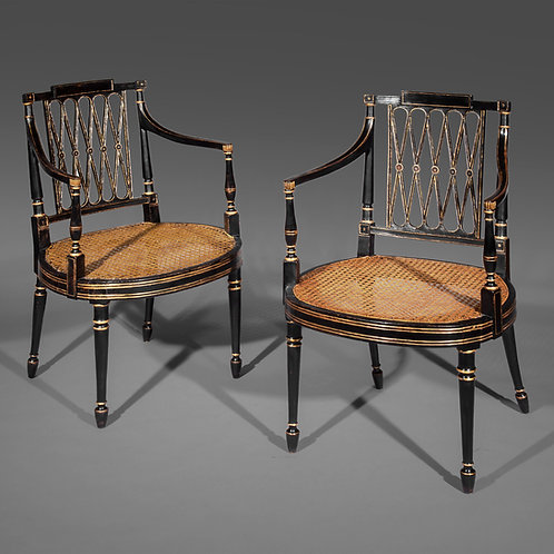 Antique Caned Armchairs of Georgian Period, Ebonised and Gilt, Attributed to Gillows