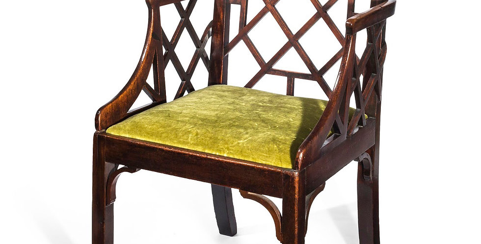 """George III Chinese Chippendale """"Cockpen"""" Armchair"""