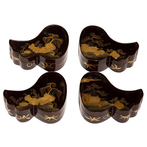 Set of Four Japanese Meiji Lacquer Jewellery Boxes