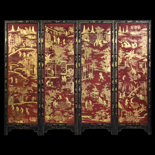 Fine Chinese Export Red Lacquer Screen