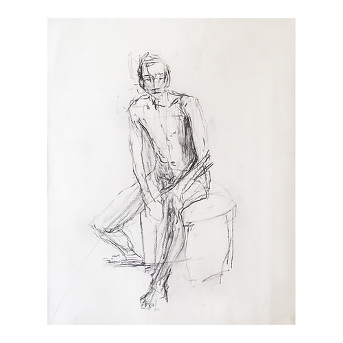 J. Dodd, Study of a Male Nude, Charcoal on Paper