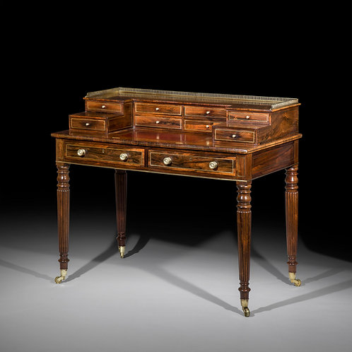 Antique Writing Desk in Rosewood and Brass Inlaid of Regency Period
