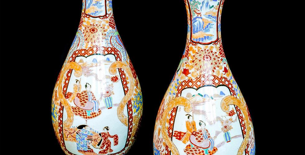 Pair of Large Japanese Meiji Period Imari Vases in Porcelain