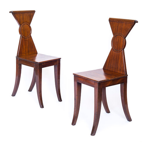 Fine Pair of Regency Hall Chairs, Attributed to Gillows