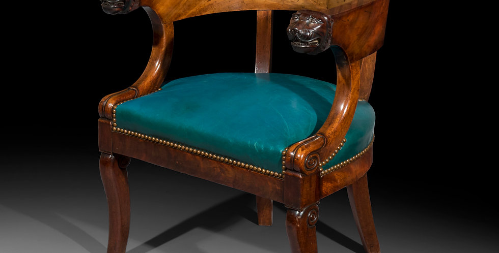 French Empire Mahogany Desk Armchair