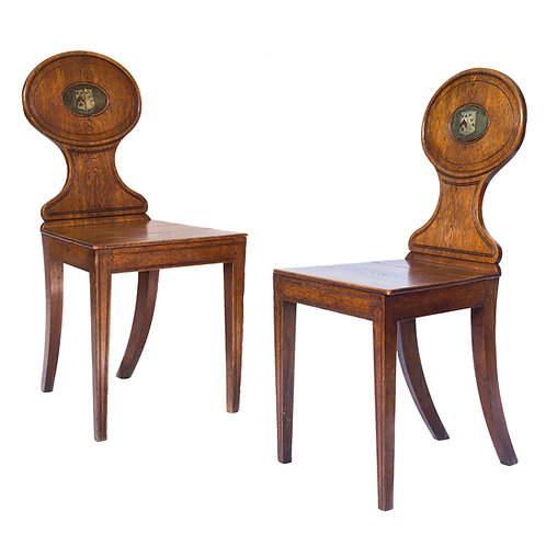 Pair of George III Oak Hall Chairs