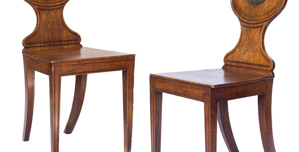 Pair of George III Oak Hall Chairs