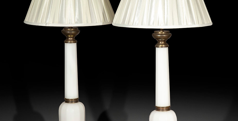 Pair of 19th Century Opaline Glass Lamps
