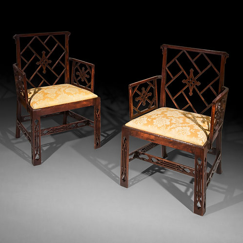 Pair of Antique Chinese Chippendale Armchairs, to a design by Mayhew & Ince