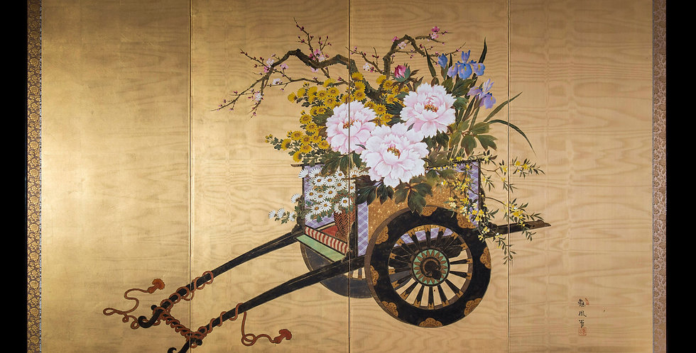 Japanese Byobu Screen Gilded and Painted on Moire Silk