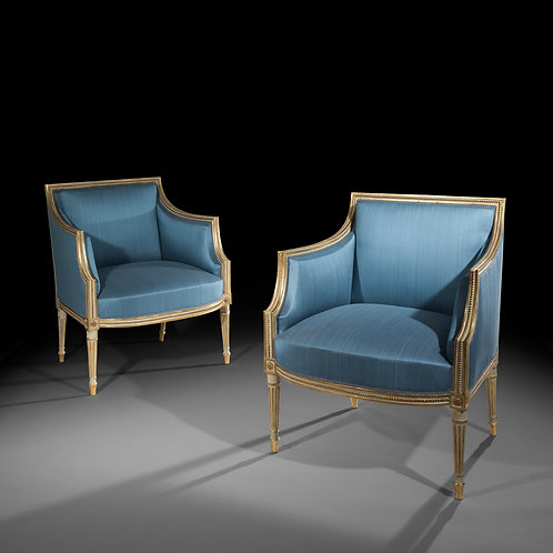 Pair of Antique Armchairs, Cream Painted and Parcel Gilt, in the manner of Francois Herve