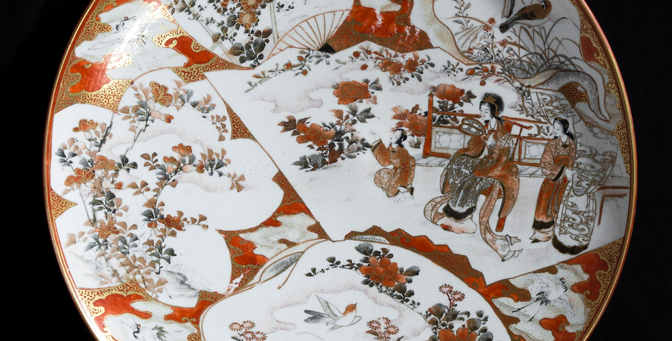 Antique Japanese Meiji Period Kutani Porcelain Dish