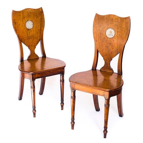 Pair of George III Irish Hall Chairs