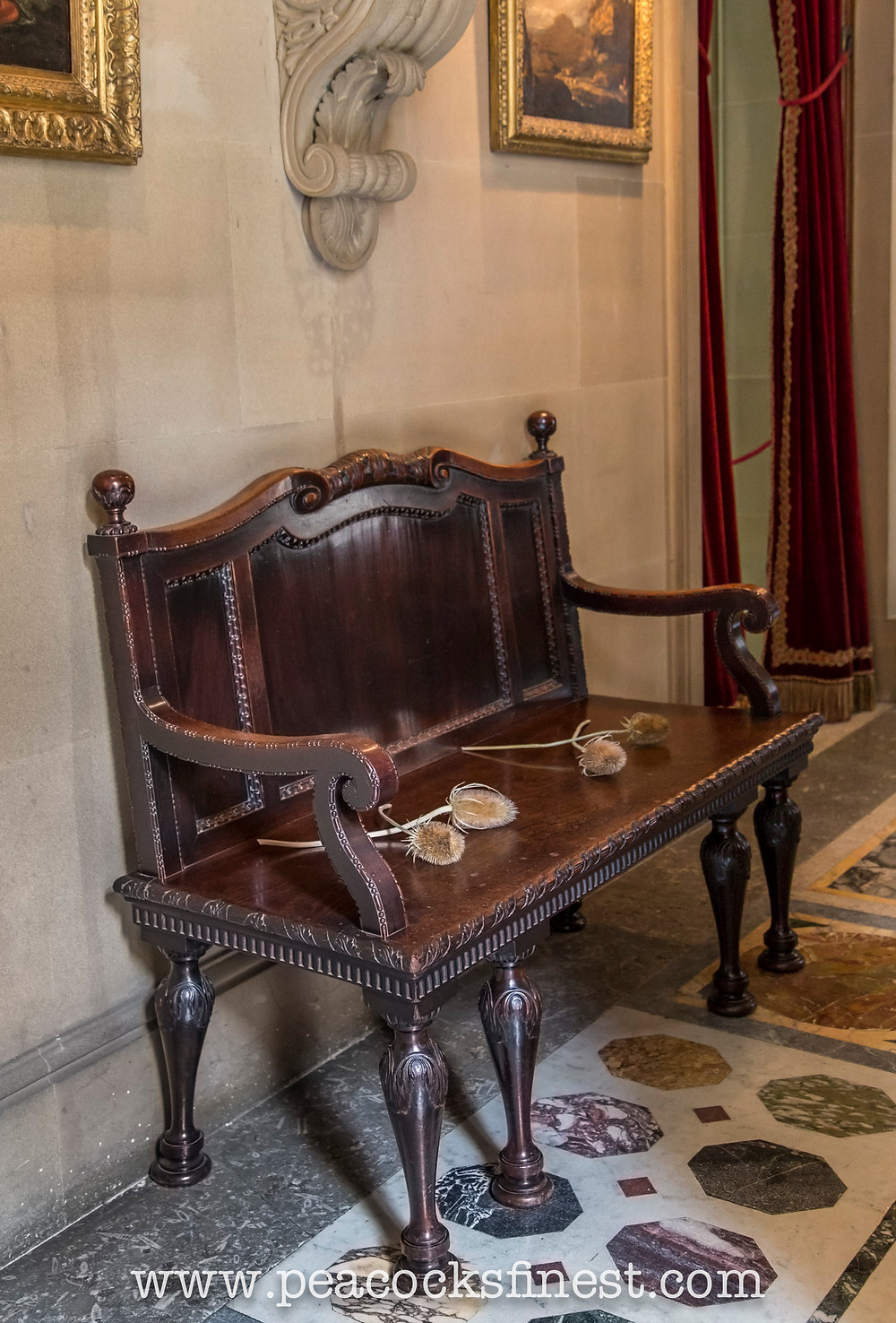 Chatsworth House hall bench settee by William Kent