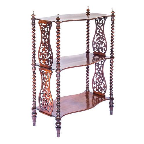 Fine Victorian Gothic Serpentine Whatnot