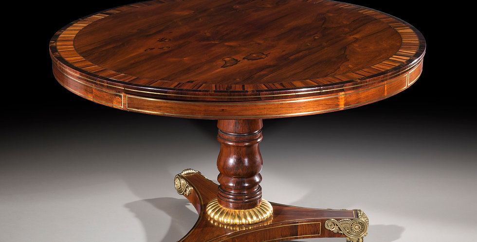 Fine Regency Rosewood, Calamander and Ebony, Brass Inlaid and Gilt Table