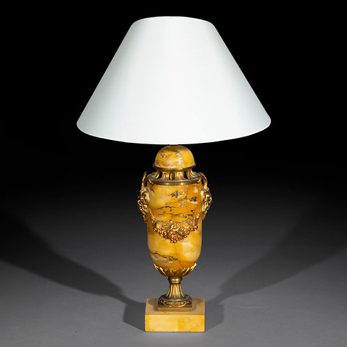 Antique Siena Marble Urn Table Lamp