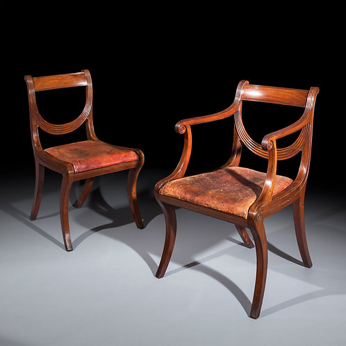 Set of Eight Regency Klismos Dining Chairs, attributed to Gillows