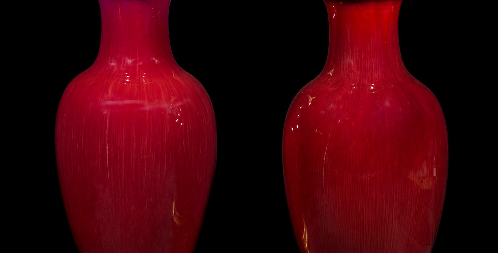 Pair of Chinese Oxblood Vase Lamps