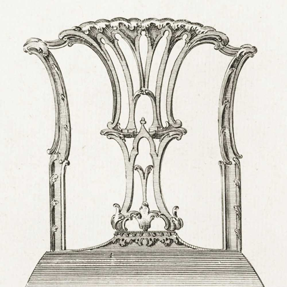 Detail of a chair design by Thomas Chippendale, 1754