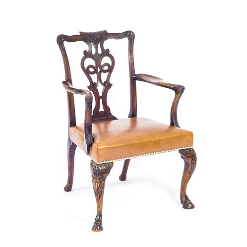 Important Irish George II Style Walnut Armchair