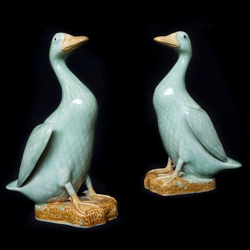 Pair of Chinese Celadon-glazed Porcelain Ducks
