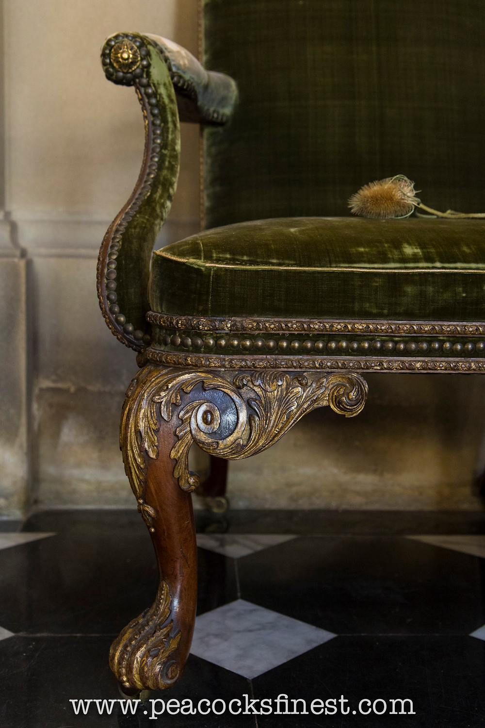 Chatsworth House, The Painted Hall. Detail of a superb George II period walnut and gilt armchair