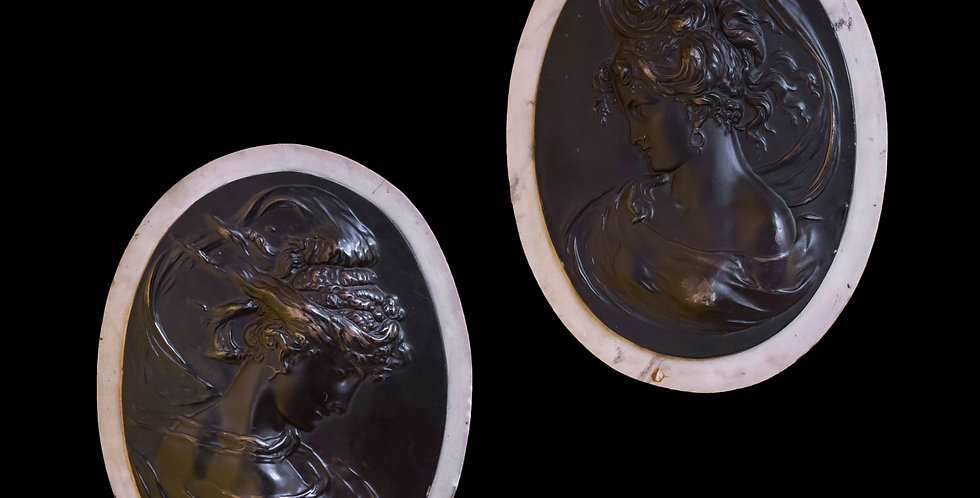 Pair of Classical Oval Medallion Wall Plaques