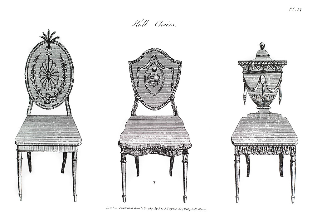George Hepplewhite designs for hall chairs