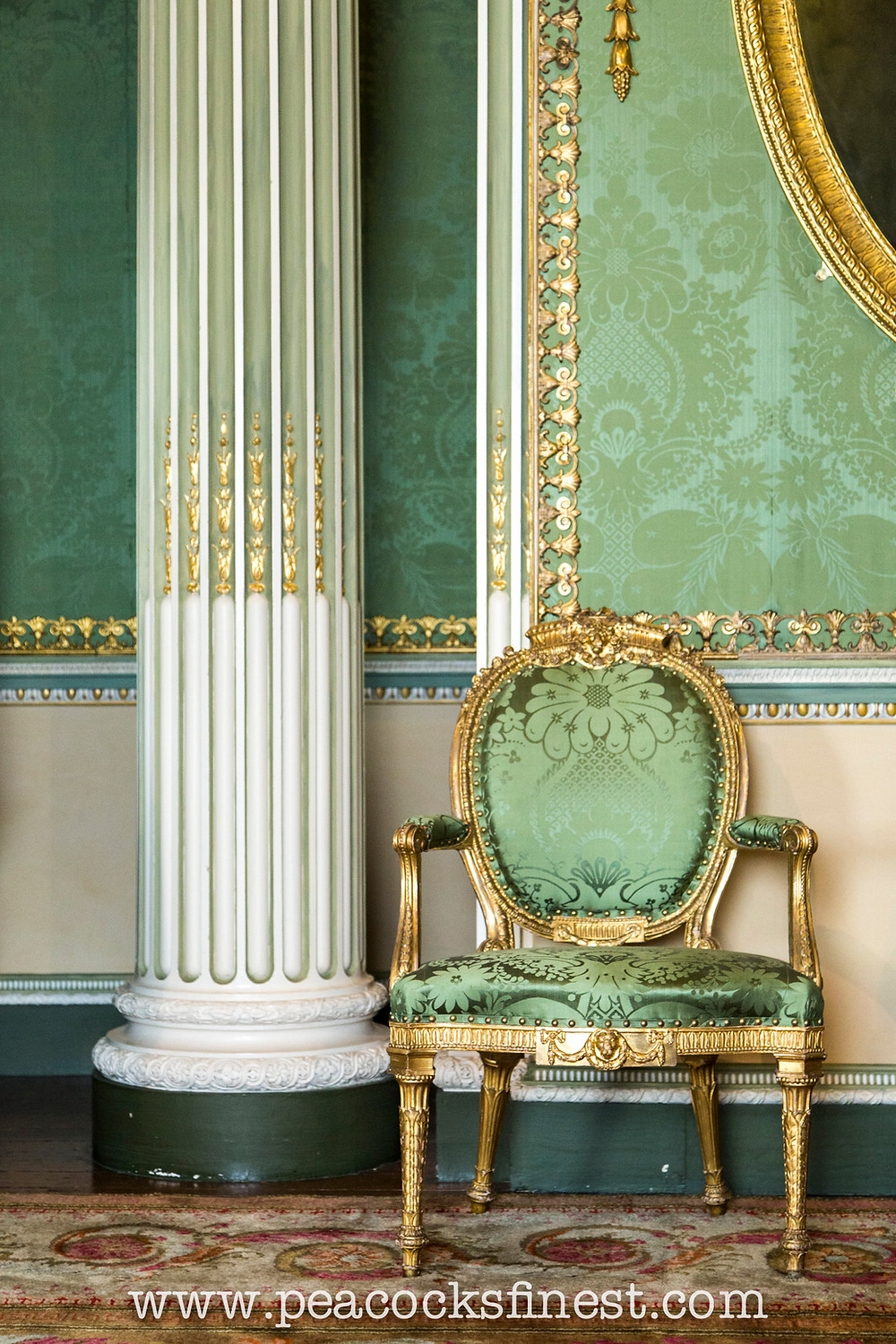 Harewood House, the State Bedroom. One of a set of eighteen George III period giltwood open armchairs supplied by Thomas Chippendale for the house.