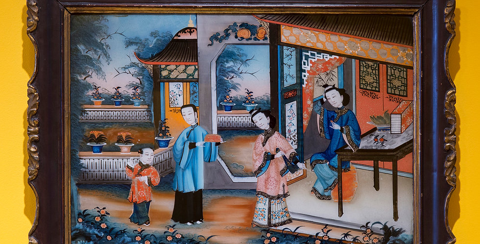 19th Century Chinese Export Reverse Glass Painting