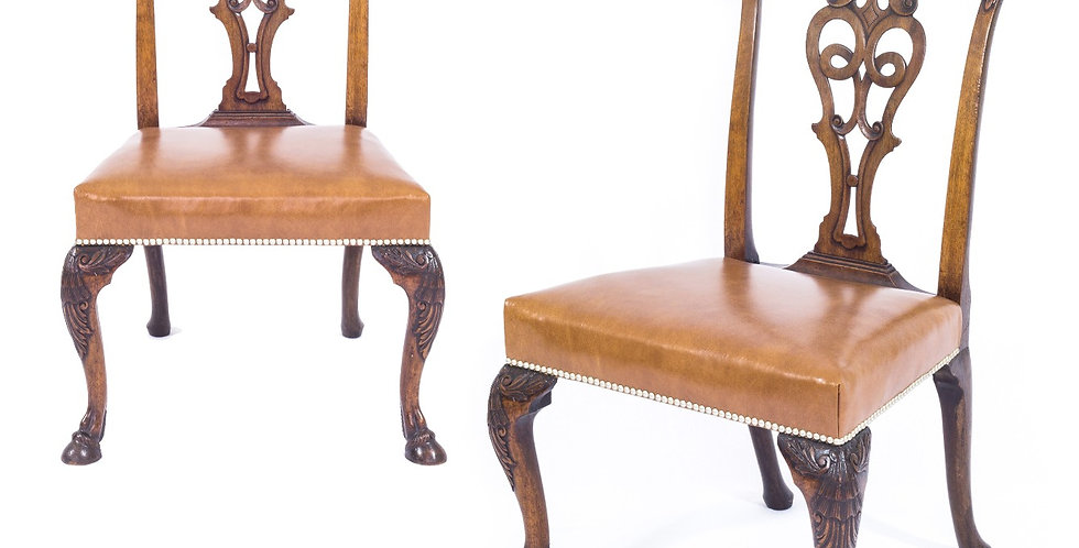Set of Eight Irish George II Style Walnut Chairs