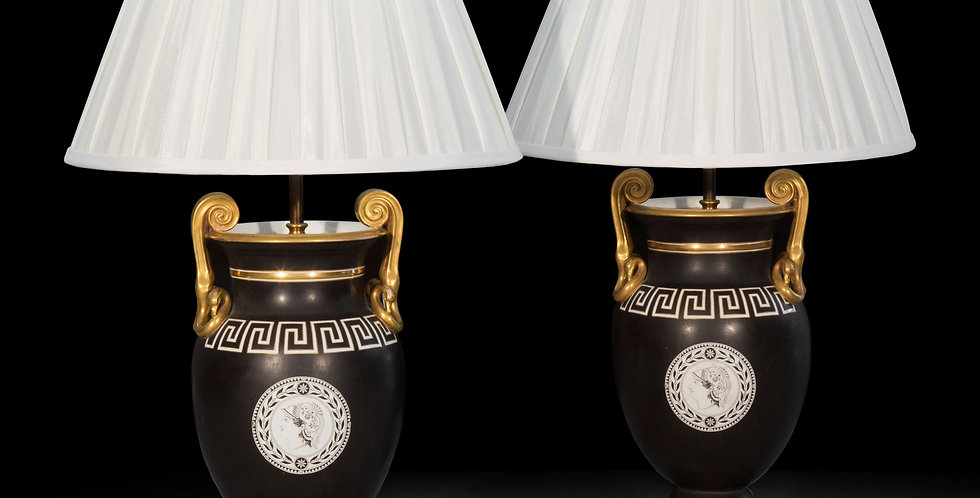 Pair of 19th Century Neoclassical Vase Lamps