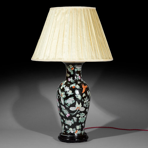 Large Chinese Export Famille Noir Table Lamp