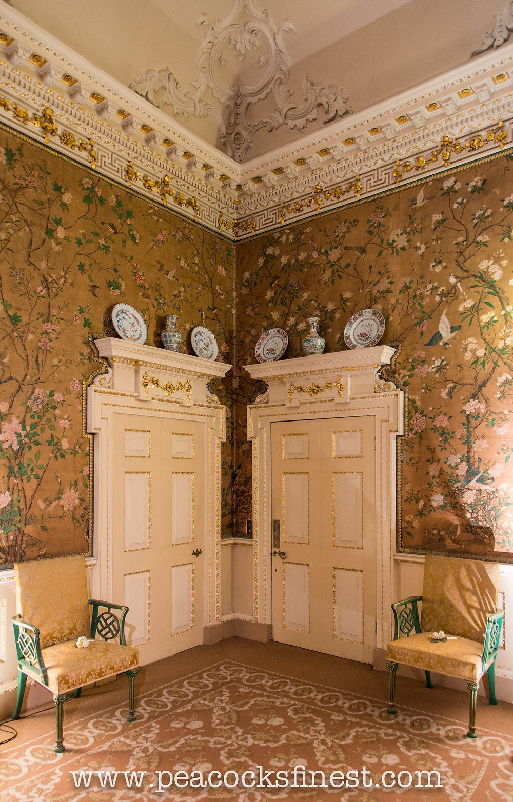 Chinoiserie wallpaper and armchairs by Chippendale at Nostell Priory