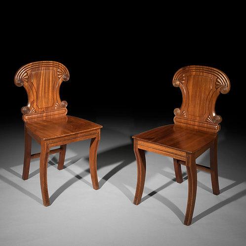 Pair of Irish Regency Hall Chairs