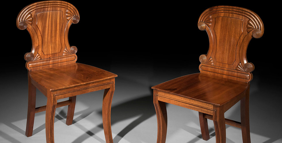 Pair of Irish Regency Hall Chairs