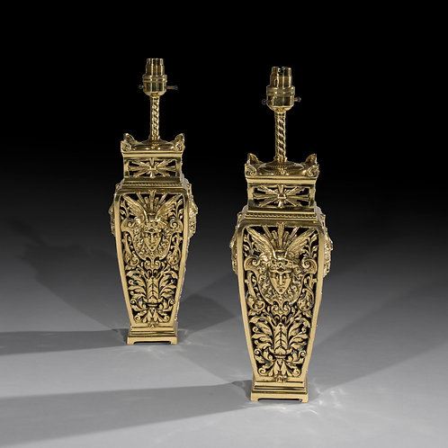 Fine Pair of Belle Epoque Brass Table Lamps
