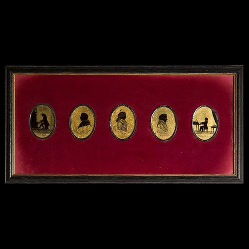 19th Century Verre Églomisé Silhouettes of Classical Composers