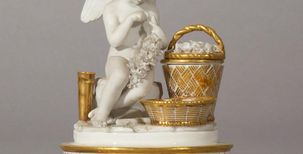 Antique Porcelain Cherub Figurine, French 19th Century