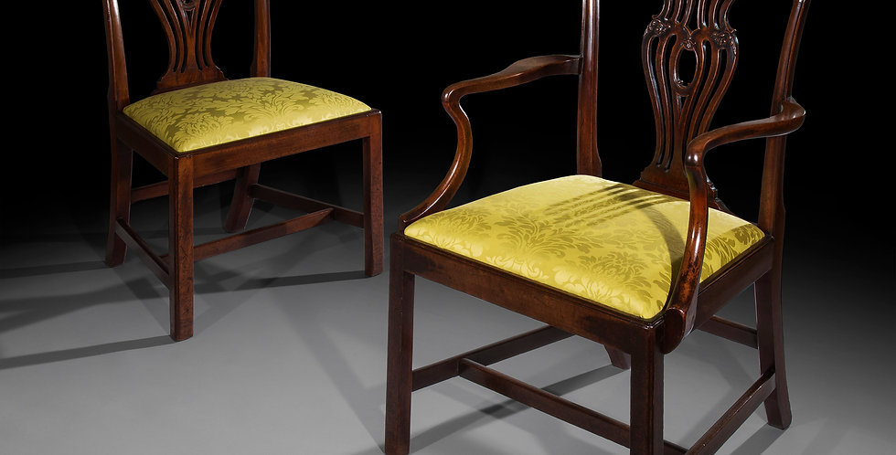 Fine set of George III Mahogany Chippendale Dining Chairs
