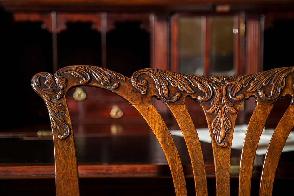 A George II Chippendale period chair, detail of the back
