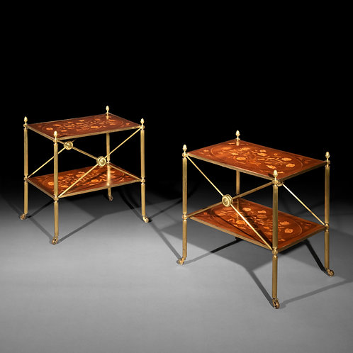 Pair of Brass and Marquetry Tables in the manner of Mallett