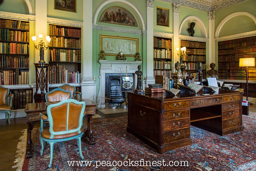 8 blue painted Cabriole Chairs covered in yellow Morocco leather at Harewood House Old Library