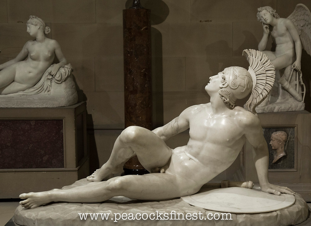 Chatsworth House, the Scultpure Gallery.The Wounded Achilles, Filippo Albacini 1777-1858