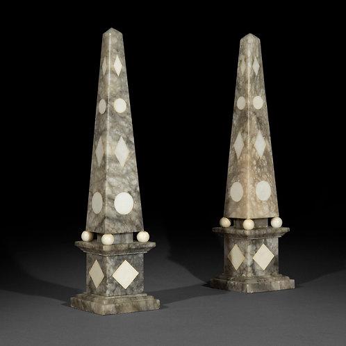 Pair of Grand Tour Marble Obelisks