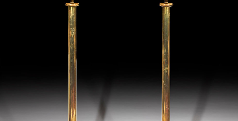 Pair of Midcentury Tall Brass Table Lamps