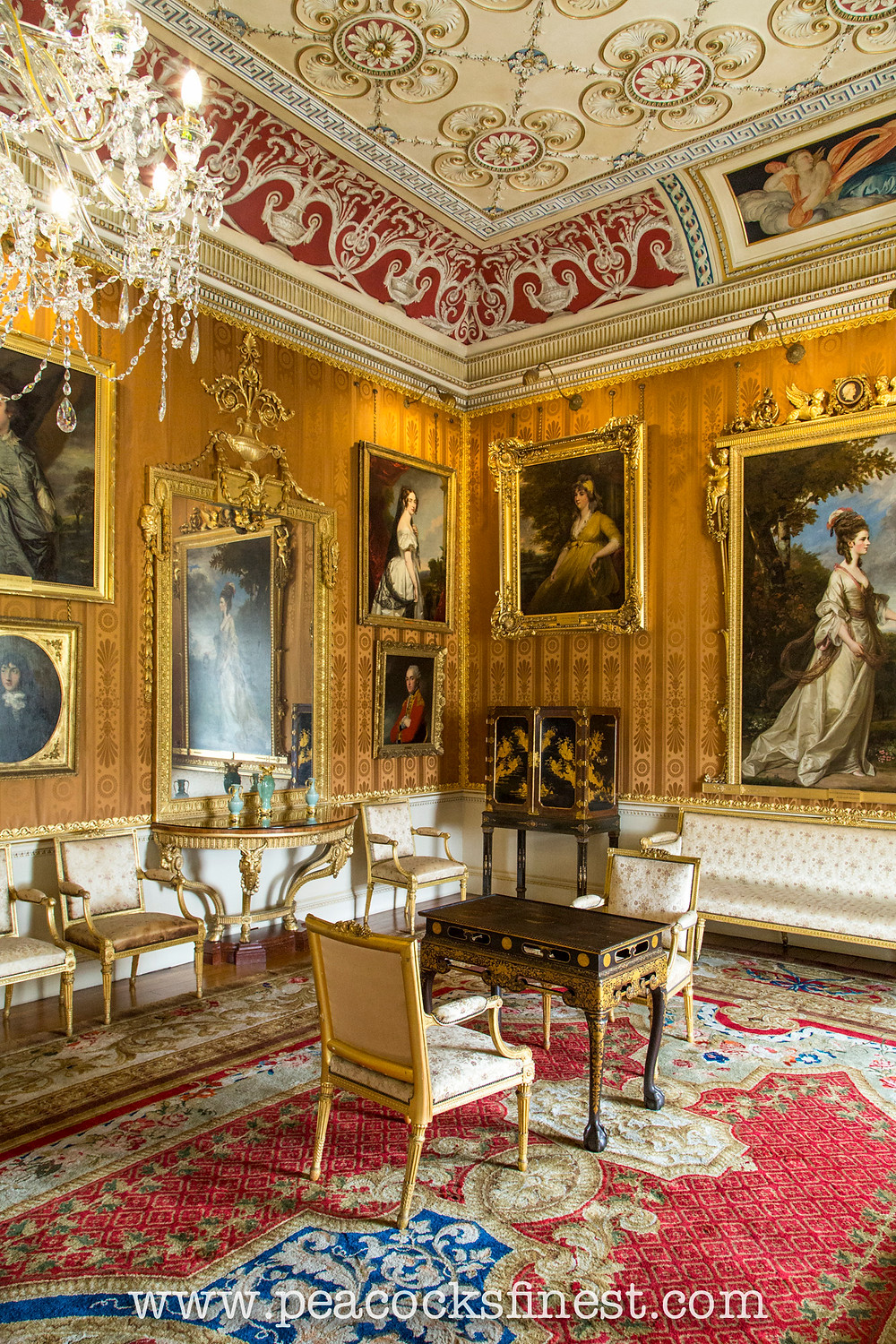 Harewood House, The Cinnamon Drawing Room. The room features a number of the Lascelles family portraits, as well as a pair of George III console-tables, exquisitely inlayed with marquetry, originally supplied by Thomas Chippendale