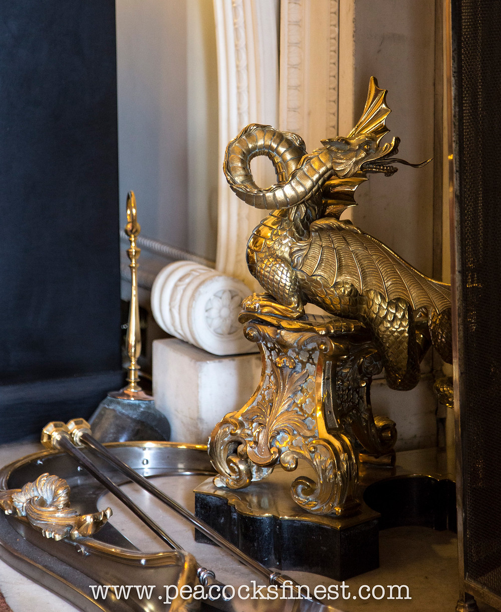 Harewood House, The Main Library. Extraordinary ornate brass firedogs, superbly modelled as dragons.