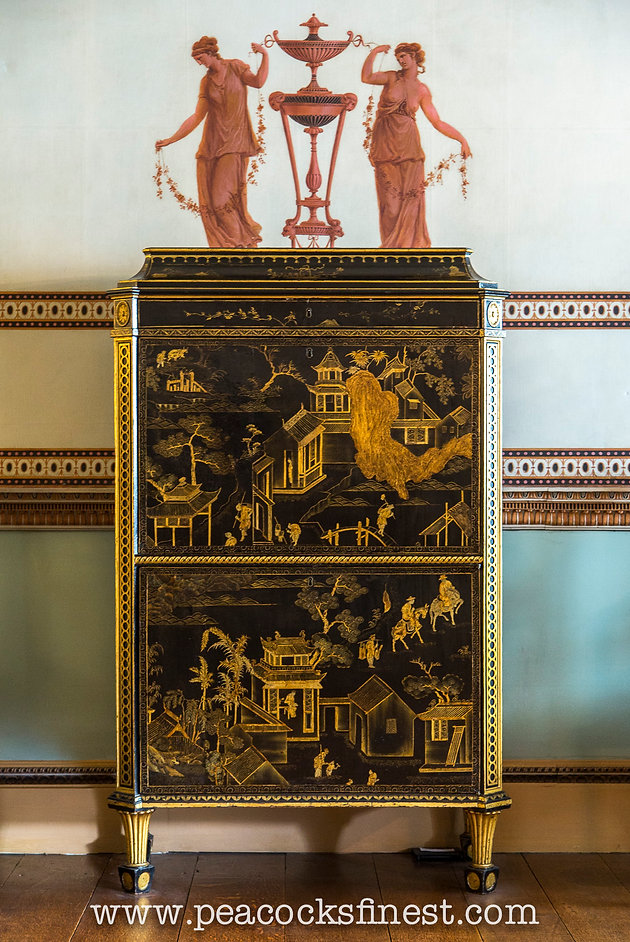 secretaire attributed to thomas chippendale c 1773 with chinese lacquer panels and english japanning it seems to have left osterley at some point